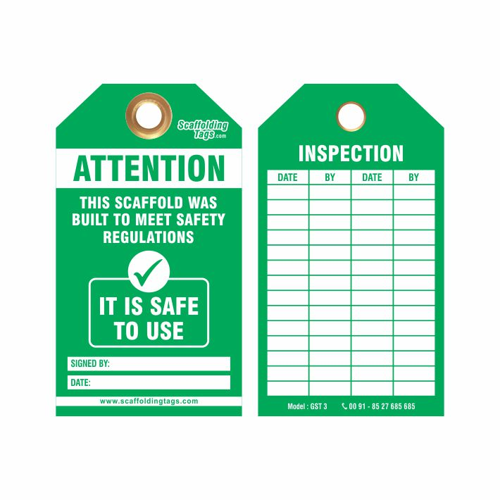 Customized Green Scaffold Tags Manufacturer Supplier