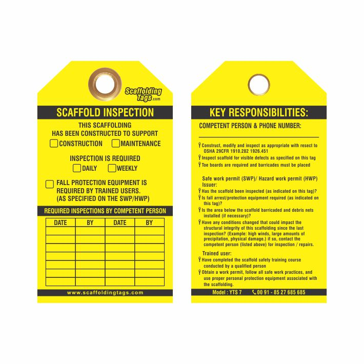 Customized Yellow Scaffold Tag Manufacturer Caution